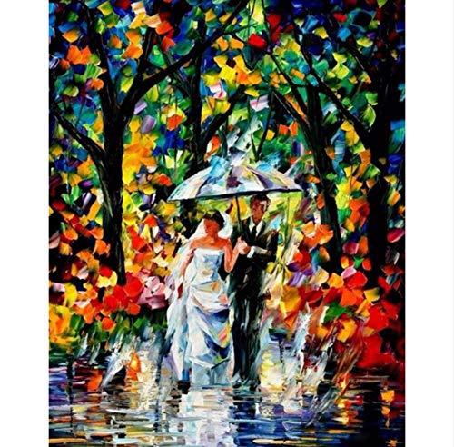 WHXJ DIY Diamante Bordado Paisaje Lluvia Lluvia Paraguas Pintura 5D Kits De Punto De Cruz para Costura Mosaico Artesanía Hobby Costura 60X60Cm