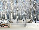 Yosot 3d Benutzerdefinierte Größe Foto Hintergrund Tapete Winter Schnee Birkenwald Kunst Wandverkleidung Schlafzimmer Wandbilder Moderne Wohnkultur-250Cmx175Cm