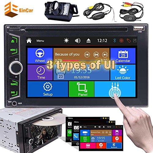 EINCAR Wireless-Backup camear + Autoradio-Doppel-DIN-Radio im Schlag-Multimedia-Spieler 6.2 Zoll-Screen-Auto-DVD-CD-Player Head Unit Unterstützung Bluetooth Sub-Unterstützungskamera AUX SD/USB