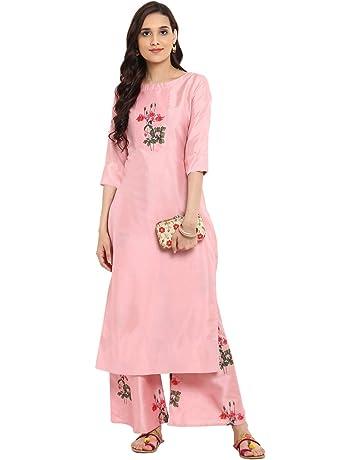 a01ad44c6 Ziyaa women's Pink color Straight Digital Print Kurta Palazzo set  (ZIKUPS2360ANDPL)