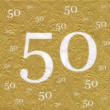 Servietten 50 gold , Prägedruck, 20 St.