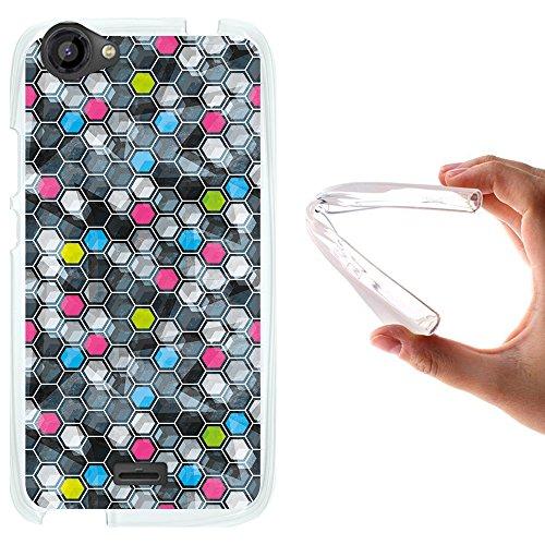 WoowCase Wiko Rainbow Jam Hülle, Handyhülle Silikon für [ Wiko Rainbow Jam ] Grunge Effekt Karierung Handytasche Handy Cover Case Schutzhülle Flexible TPU - Transparent