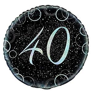 Unique Party Globo foil de 40 cumpleaños Color plateado metálico brillante 45 cm 55822