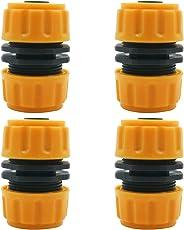 4 Stück Reparatur-Schlauchverbindung BlueXP Schlauchverbinder Konnektor 1/2 zoll Doppelschlauchanschluss für Gartengewinde, für Garten und Haus, Gelb