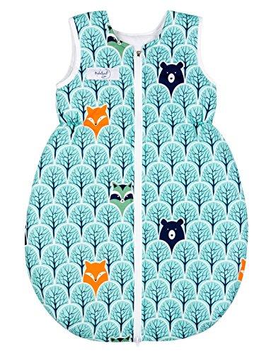 Schlummersack Baby Schlafsack mit Reißverschluss und Gummizug aus 100% Baumwolle in jeder Größe verfügbar (74-134cm) (Forst, 110) (8 Shirt-kollektion)