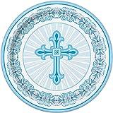 23cm strahlend Kreuz blau Religiöse Party Teller, 8Stück