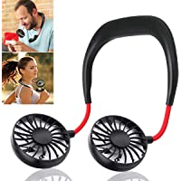ALLWIN Portable Hand-Free Mini Personal Neck-Hanging USB Rechargeable Neckband Cooling Double Fan with LED Light, 3 Speeds and 360 Degree Rotation for Outdoor Sport Camping Travel Office (Assorted)