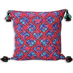 Riva Paoletti Moroccan Collection Roxbury - Cojín con relleno de polietileno, color azul y rojo con borlas (45 x 45 cm)