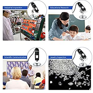 KKmoon 1600X Magnification USB Digital Microscope with OTG Function Endoscope 8-LED Light Magnifying Glass Magnifier with Stand