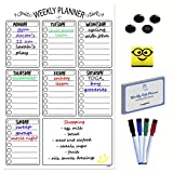Magnetic Weekly Task Planner | A3 Dry Erase Chore Planner, Meal Planner, Event Planner With Magnetic Eraser, 4 Magnetic Markers, 4 Magnetic Buttons, 100 Video Recipes. Perfect Daily Planner