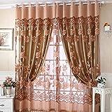 Tenda trasparente in voile, per portafinestra, per camera da letto, salotto, cameretta dei bambini, veranda e vetrine Coffee