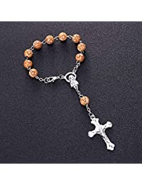 44ce01a57803 YIYIYYA Pulsera Mujer Pulsera De Madera De 6Mm Rosario Centro Sagrado  Corazón De María Guadalupe Divina