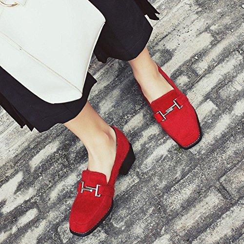 COOLCEPT Femmes Mode Boucle Belt Chunky Heel Talon bas Escarpins Brogues Flocking Chaussures Rouge