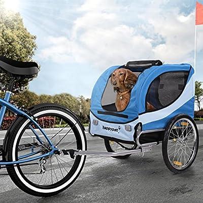 Happypet Fahrrad-Anhänger für Hunde M Hundefahrradanhänger Transporter Regenschutz inkl. Anhängerkupplung Farbwahl