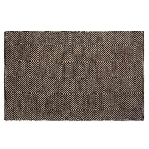 Homescapes Naturfaser Teppich Vorleger 150 x 240 cm 100% Jute Teppich schwarz beige geometrisches Muster Raute (Sisal-teppich, Fliesen)