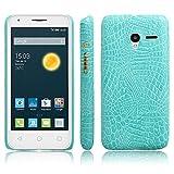 Telefono Caso per Alcatel One Touch Pixi 3 4.0 Ot-4013k Custodia PU Coccodrillo Pelle Copertura Back Case Cover (Verde)