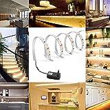 Salcar 5m LED Streifen Set Warmweiß 300 LEDs Lichtband mit 12V Netzteil LED Strip Kit Licht für Küche, Wohnzimmer Deko
