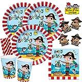 Rachel Ellen/Hobbyfun 52-teiliges Party-Set Frecher Pirat - Teller Becher Servietten Trinkhalme Piraten-Schokolade für 8 Kinder