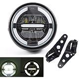 Phares avant LED , d'assemblage de phare de moto universel avec DRL pour Cafe Racer Bobber Chopper (Couleur B)
