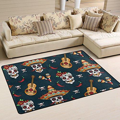 coosun mexikanischen Totenkopf Muster Teppich Teppich rutschfeste Fußmatte Fußmatten für Wohnzimmer Schlafzimmer 91.4 x 61 cm, Textil, multi, 36 x 24 inch (Mexikanischer Teppich)