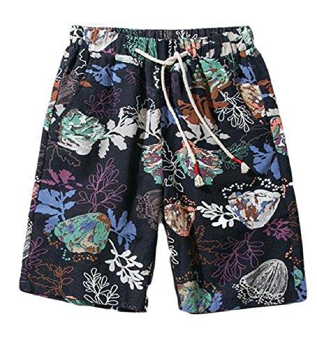 Herrenmode Blumendruck Quick Dry Board Shorts Kordelzug Sommer Casual Strand Shorts Badehose