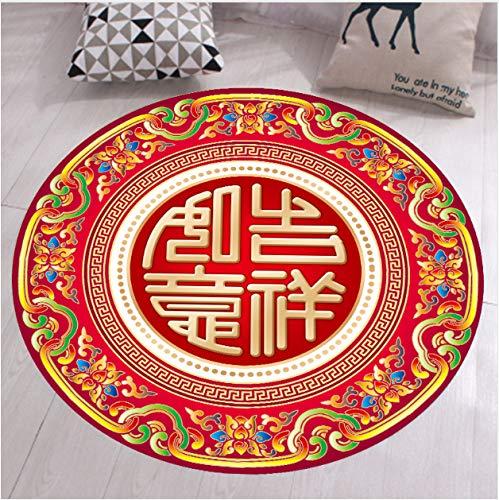 Chinesische Teppich (zzqiao Teppich Runde Teppich Chinesisches Glück Chinesische Schriftzeichen Patter Für Wohnzimmer Traditionellen Klassischen Schlafzimmer Rutschfeste Matte Durchmesser 120 cm)