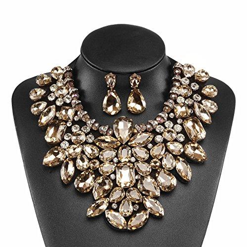 Holylove Damen Statement Halskette Tawny, Costume Schmuck für Damen Neuheit Mode Halskette Ohrringe 1 Set mit Geschenkbox- HL8455EE Tawny (Mode Ohrring Und Halskette Set)