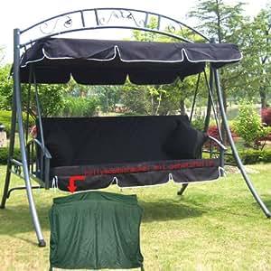 Modèle Gea Luxe extérieur jardin patio Balancelle Hamac chaise Swing avec fonction lit -- Largeur 215cm; hauteur: 219cm; profondeur: 160cm Noir, capacité de charge: 200kg