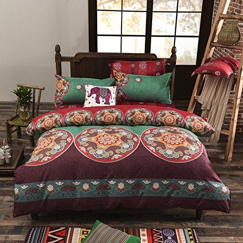 DS Bettwäsche Star 3-teiliges Mikrofaser Baumwolle Bohemian Exotic Fashion-Stil Blumen Bettbezug Set Twin Größe Reversible Farbe -