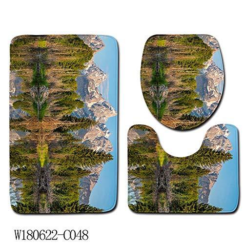 OOFAYWFD 50X80cm WC Asiento Tres Piezas De Tierra Mat Puerta Mat Baño Alfombra,2