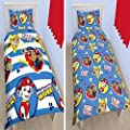 New Paw Patrol Pawsome Single Duvet Quilt Cover Bedding Set Boys Blue Bedroom - inexpensive UK light store.