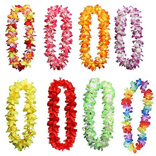 he Garland Halskette,Bunte Hawaii Kränze für Geburtstag Hochzeit Party Strand Thema Party 8er(8 Farben) ()
