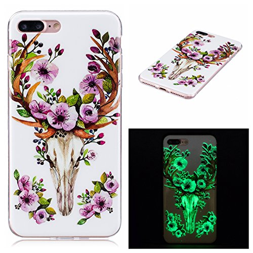 iPhone 7 Plus 5.5 Pollice Custodia in Silicone Paraurti flessibile Casso Protettiva in TPU Copertura Pelle Shell per Apple iPhone 7 Plus 5.5 case con unico Colorato Design Elegante Modello Stampato, fiore Deer