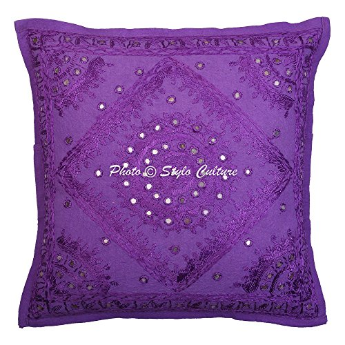 Stylo Culture Indische Spiegel Bestickt Baumwolle Throw Kissenbezug lila 40 x 40 abstrakte Kissenbezug