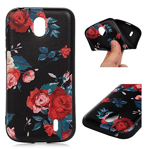 Edauto Nokia 1 Hülle Silikon Case Premium Relief TPU Silikon Tasche Schutzhülle Case Cover Handytasche Soft Flex Silikon Schlank Bumper Handyhülle für Nokia 1 Rose