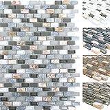 Mosaikfliesen Muschel Glas Naturstein Jasmina | Wand-Mosaik | Mosaik-Fliesen | Naturstein-Mosaik | Fliesen-Bordüre | Ideal für den Wohnbereich und fürs Badezimmer (auch als Muster erhältlich) (Muster, Grau)