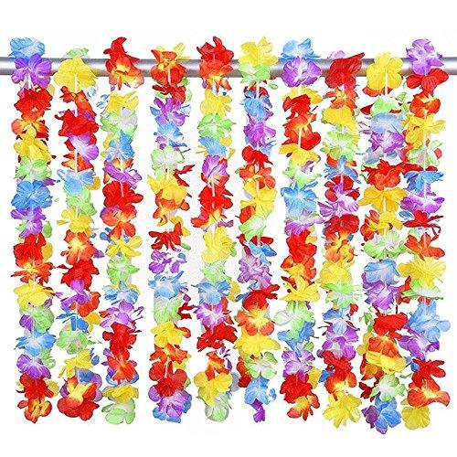 AOLVO Hawaii Kränzen Leis, tropischen Hawaiian Luau Lei Styles Traditionelle Hawaiianische Lei Tropical Hawaiian Leis Rüschen Blumen Colorful Ketten und Stirnband Beach Party Favor Dekoration–10PCS