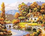 Tirzah Malen nach Zahlen mit 3X Bildschirmlupe 40 x 50cm DIY Leinwand Gemälde für Erwachsene und Kinder, Enthält Acrylfarben und 3 Pinsel - Cottage auf dem Land