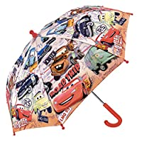 PERLETTI Disney Cars Kids Umbrella - Stick Umbrella for Boys - Lightning McQueen - Windproof and Resistant Brolly - Safety Opening - 3 to 6 Years - Diameter 76 cm