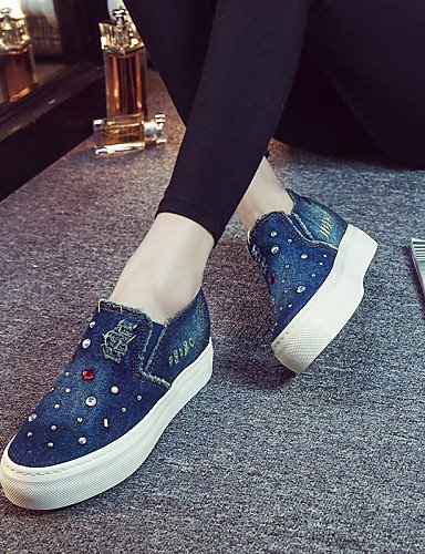 ZQ gyht Scarpe Donna - Mocassini / Senza lacci - Tempo libero / Casual - Plateau / Creepers / Comoda / Punta arrotondata - Plateau - Denim -Nero , dark blue-us6.5-7 / eu37 / uk4.5-5 / cn37 , dark blue black-us5.5 / eu36 / uk3.5 / cn35