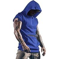 Uomo T-Shirts Palestre per Uomini Fitness Muscolo Maglia Felpa con Cappuccio Senza Maniche Canottiera Maglietta…