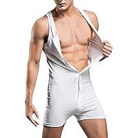 Men's Bodysuit Sleeveless Button Down Leotard Bodysuit Short Rompers Nightwear Jumpsuit Overalls Underwear Sportwear