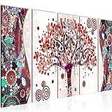 Bilder Gustav Klimt - Baum des Lebens Wandbild 150 x 60 cm Vlies - Leinwand Bild XXL Format Wandbilder Wohnzimmer Wohnung Deko Kunstdrucke Rot 5 Teilig - MADE IN GERMANY - Fertig zum Aufhängen 004656c