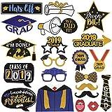 Amosfun 2019 - Accesorios para fotos de graduación y graduación, purpurina y accesorios para fotos negras para la escuela secundaria, graduación, graduación, graduación, fiesta, 21 unidades