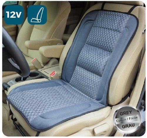Beheizbares Sitzauflage, Auto Heizkissen, Sitheizung, 12V, DELUXE Model SH-4170N (Grau mit Muster hellgrau)