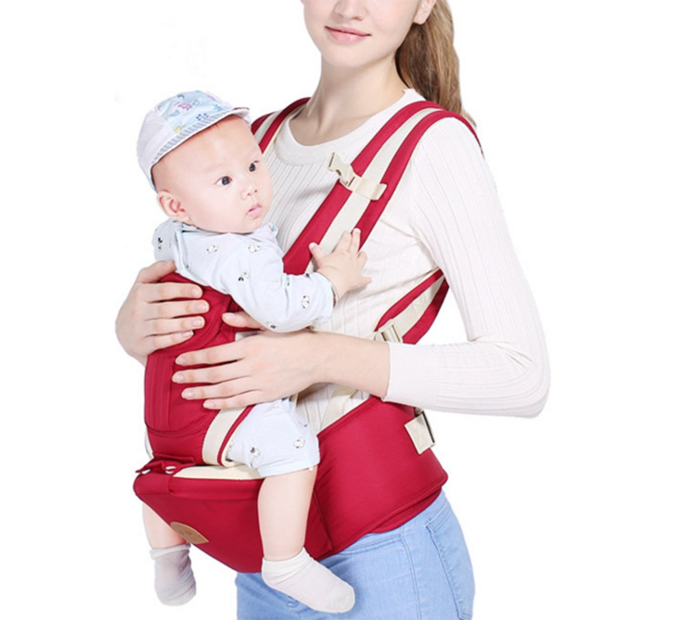 Multifunctional Baby Waist Stool 6 in 1 Baby Carrier Detachable Hip Joint Wide Shoulder Strap Easy and Effort babao 【Perfect for All Seasons】100% organic cotton and breathable mesh material make it soft and comfortable for you and baby skin. Adjustable and demountable temperature-regulation anti-wind hood allows you to keep cooling or warm as you need 【many Carrying Positions and Many Usages】many or out ward facing with or without the hip seat and as a hip seat for infants with the mom or dad detached.Besides, more positions can be allowed as pictures show 【Multifunctional & Adjustable Baby Carrier】Ergonomic positioning of baby seat allows baby's thighs to be supported to the knee joint. The forces on the hip joint are minimal because the legs are spread, supported, and the hip is in a more stable position. Also provides carrying comfortable for adults with wide adjustable lumbar support belt with Velcro and buckle for added safety and strength, and wide adjustable shoulder straps to accommodate both forward and rear positions 2