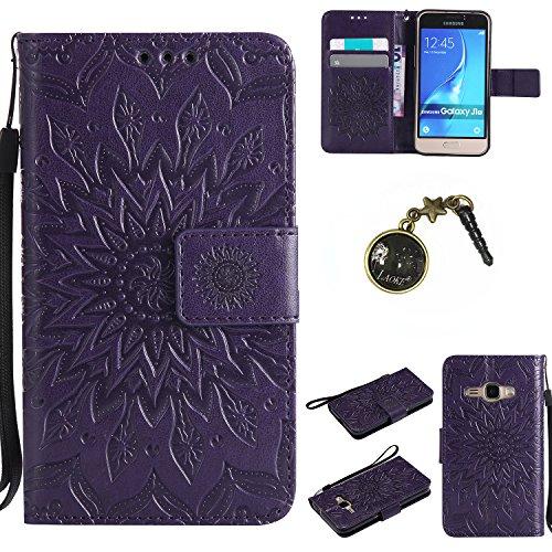 Preisvergleich Produktbild für Smartphone Samsung Galaxy J120 (4.5 zoll,J1 2016) SM-J120F Hülle, Klappetui Flip Cover Tasche Leder [Kartenfächer] Schutzhülle Lederbrieftasche Executive Design +Staubstecker (1FF)
