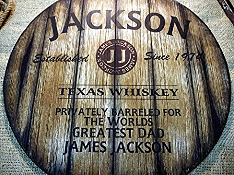 Personalised decor sign inspired by old whiskey barrel tops | Custom Gifts for men | Christmas Gift | Rustic Living room, Home Bar, Man Cave decoration | Unique Husband, Dad, Groom, Best Man