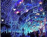 6*4M Lichternetz 8 Modi 880LEDs IP44 220V Lichtervorhang Net Light Dekobeleuchtung für Wand, Decken, Flur, Rasen, Baum, Garten, Weihnachten, Hochzeit, Party, Geburtstag-Blau