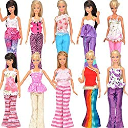 E-Ting Yiding 5 Sets=10 Items=5 Clothes Outfit 5 Trousers Pants For Barbie Doll Random Style